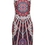 Sukienka z nadrukiem bonprix niebiesko-czerwony wzorzysty na wesele