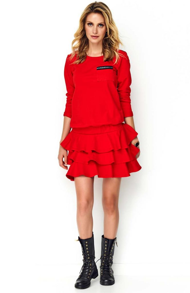 Czerwona Sukienka z Obniżoną Talią z Falbankami