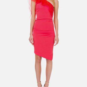 ELISABETTA FRANCHI - Asymetryczna sukienka z falbankami z organzy.