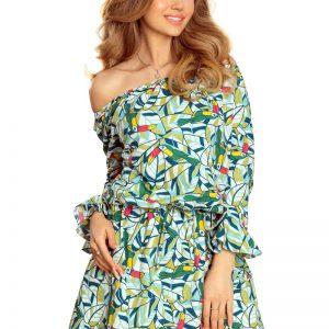 Wzorzysta Dziewczęca Sukienka z Falbankami w Zielone Tukany.