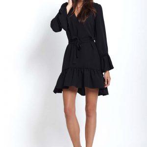 Czarna Kobieca Zwiewna sukienka z Falbankami.