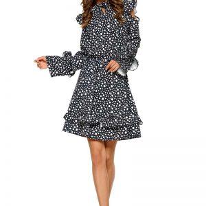 Wzorzysta Sukienka w Kropki z Falbankami Typu Cold Shoulder.