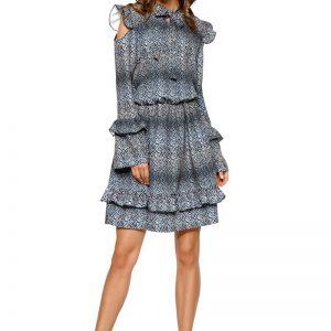 Wzorzysta Sukienka w Liście z Falbankami Typu Cold Shoulder.