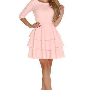 Różowa Wizytowa Rozkloszowana Sukienka z Falbankami.