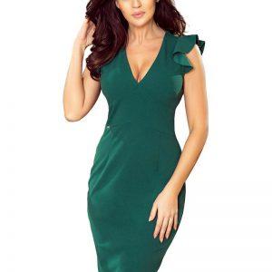 Zielona Ołówkowa Sukienka z Dekoltem V z Falbankami.