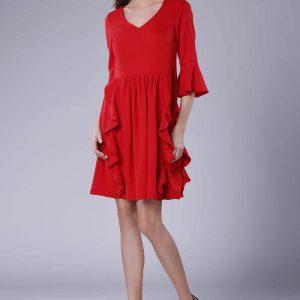 Czerwona Wizytowa Rozkloszowana Sukienka z Falbankami.