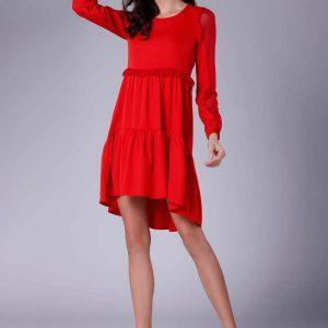 Czerwona Rozkloszowana Sukienka z Falbankami z Siateczką.