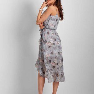 Niebieska Wzorzysta Asymetryczna Sukienka z Falbankami.