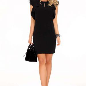 Czarna Ołówkowa sukienka z Falbankami na Ramionach.