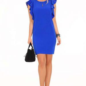 Niebieska Ołówkowa sukienka z Falbankami na Ramionach.