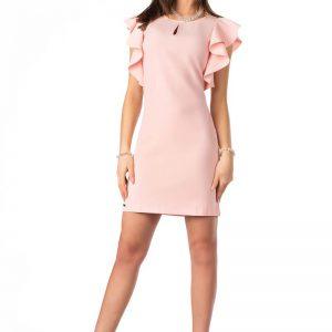 Różowa Ołówkowa sukienka z Falbankami na Ramionach.