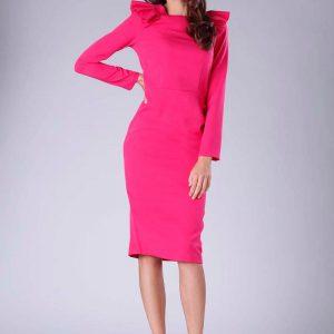 Ciemno Różowa Sukienka o Dopasowanym Fasonie z Falbankami.
