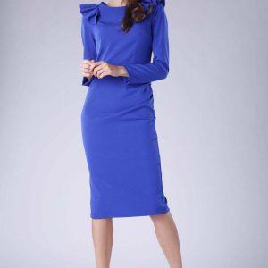Kobaltowa Sukienka o Dopasowanym Fasonie z Falbankami.