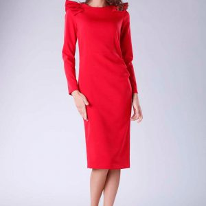Czerwona Sukienka o Dopasowanym Fasonie z Falbankami.