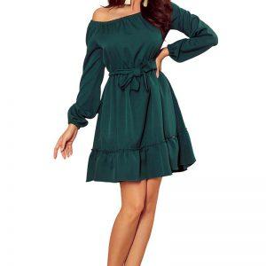Zielona Zwiewna Kobieca Sukienka z Falbankami.