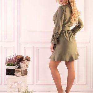 Khaki Wizytowa Mini Sukienka z Falbankami.