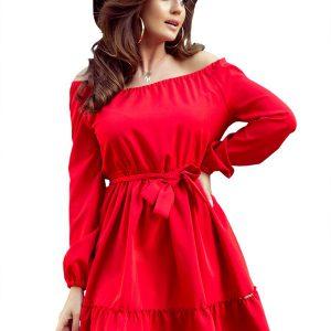 Czerwona Zwiewna Kobieca Sukienka z Falbankami.