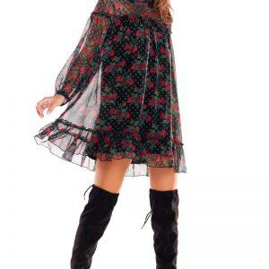 Luźna Mini Sukienka z Wzorzystego Szyfonu z Falbankami - Wzór 1.
