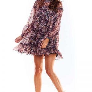 Luźna Mini Sukienka z Wzorzystego Szyfonu z Falbankami - Wzór 2.