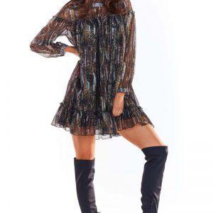 Luźna Mini Sukienka z Wzorzystego Szyfonu z Falbankami - Wzór 3.