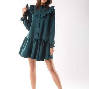 Zielona Zwiewna Krótka Sukienka z Falbankami.