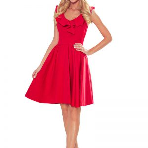 Rozkloszowana Sukienka z Falbankami na Dekolcie - Czerwona.