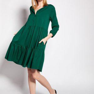 Dziewczęca Sukienka z Falbankami - Zielona.