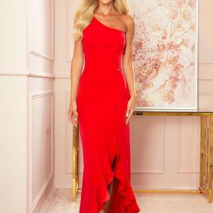 Czerwona Długa Sukienka na Jedno Ramię z Falbankami.
