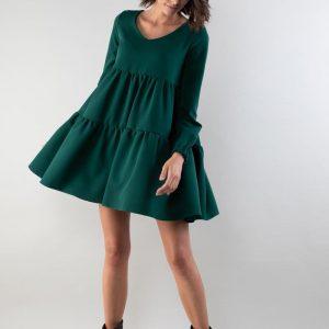 Sukienka z Falbankami z Dekoltem w Szpic - Zielona.