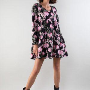 Sukienka z Falbankami z Dekoltem w Szpic - Kwiaty.