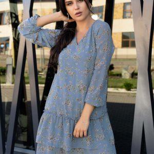 Niebieska Sukienka w Kwiatki z Falbankami.