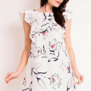 Zjawiskowa trapezowa sukienka w kwiaty z falbankami.