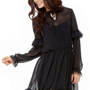 Zwiewna szyfonowa sukienka z falbankami.