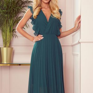 Plisowana szyfonowa sukienka 7/8 z falbankami zielona.