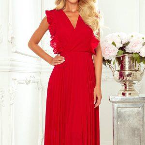 Plisowana szyfonowa sukienka 7/8 z falbankami czerwona.