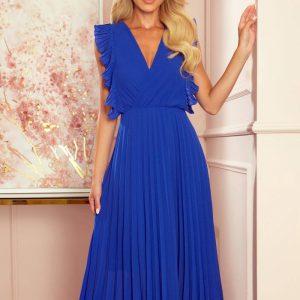 Plisowana szyfonowa sukienka 7/8 z falbankami chabrowa.