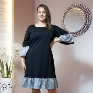 Elegancka czarna sukienka Hosanna z falbankami XXL OVERSIZE JESIEŃ.