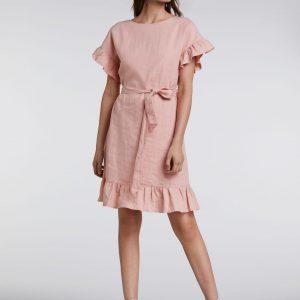 Bawełniana sukienka z falbankami przy rękawach Oui (Outlet).
