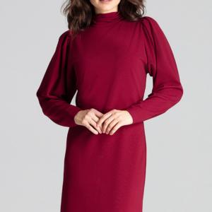 Elegancka sukienka ze stójką i bufiastymi rękawami bordowa krótka.