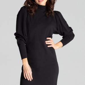 Elegancka sukienka ze stójką i bufiastymi rękawami czarna krótka.