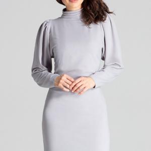 Elegancka sukienka ze stójką i bufiastymi rękawami szara krótka.