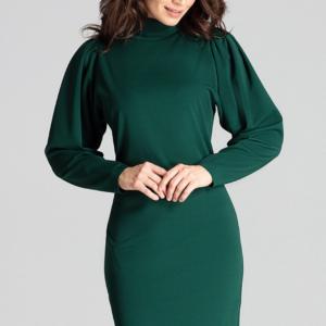 Elegancka sukienka ze stójką i bufiastymi rękawami zielona krótka.