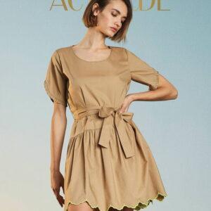 Sukienka Twinset z odblaskowymi detalami oraz paskiem krótka.