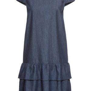 Sukienka dżinsowa z falbaną bonprix ciemnoniebieski krótka.