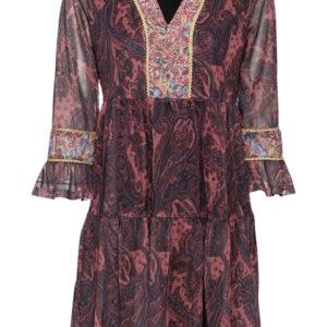 """Sukienka tunikowa z nadrukiem bonprix czerwonobrązowy """"paisley"""" krótka."""