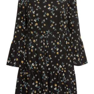 Sukienka z falbanami bonprix czarny w kwiaty krótka.