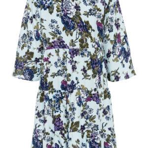Sukienka z krótką plisą guzikową bonprix jasnoniebiesko-niebiesko-biało-lila w kwiaty krótka.