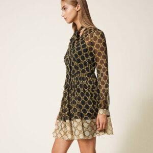 Sukienka z motywem łańcuszka Twinset (Outlet) krótka.