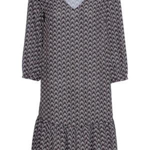 Sukienka z poliestru z recyklingu bonprix czarno-naturalny- truskawkowy z nadrukiem krótka.