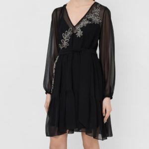 Sukienka z żorżety z haftem Twinset krótka.